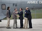 Francouzsk� prezident Francois Hollande a ministr zahrani�� Laurent Fabius