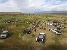 Setkání Bundyho příznivců před jeho rančem v Nevadě.