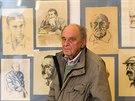 Lékař Rudolf Malec vystavil své kresby z let 1939 až 2014 v Galerii Na Hradě v...