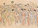 Nejstarší kresba lékaře Rudolfa Malece z roku 1943 se jmenuje Maturanti VIII.A....