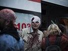 Násilí si v Doněcku vyžádalo několik zranění (Doněck, 28. dubna 2014).