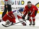 Momentka z utkání českých hokejistů do 18 let proti Švýcarsku.