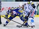 Momentka z finálového duelu mezi hokejisty Komety a Zlína.