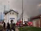 V Lanškrouně vypukl požár v bývalé galvanovně (20. dubna 2014)