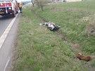 Nehoda tří motocyklů a osobního auta na Bruntálsku (21. dubna 2014)