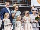 Nizozemský král Willem Alexander, královna Máxima a princezny Amalia, Ariane a...