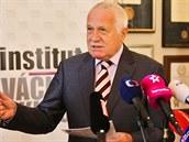 Exprezident Václav Klaus na brífinku k desátému výro�í vstupu �eska do Evropské...