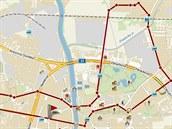 Mapa akce Hradec na bruslích v rámci hradeckého Majálesu 2014.