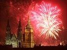 Ohňostroj při příležitosti vstupu Česka do Evropské unie nad Pražským hradem....