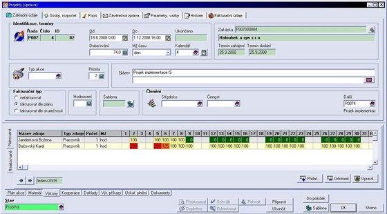 Obr.č.4: plánování zdrojů za využití kalendářů v ERP systému Vision32