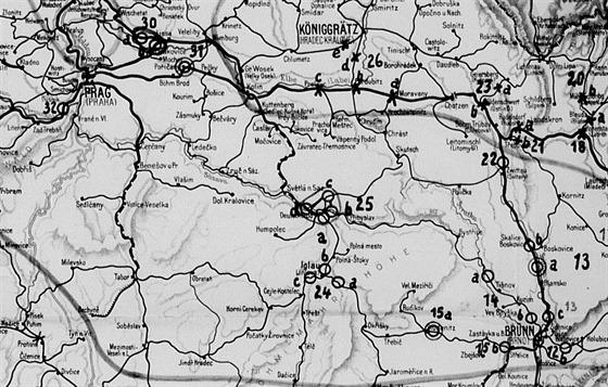 V��ez mapy �SR zachycuj�c� um�st�n� strategick�ch objekt� �elezni�n�...