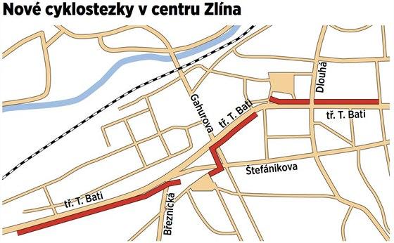 Trasa městské obslužné cyklostezky, která má brzy vzniknout v centru Zlína.