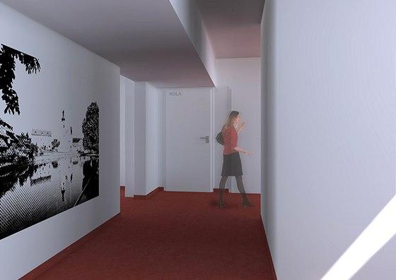 Nový sádrokartonový podhled zakrývá vedení rozvodů  pod stropem, boční stěnu