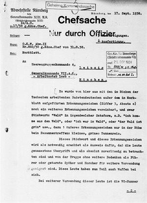 Dodate�n� informace ze z��� 1938, kterou norimbersk� Abwehr informuje n�meck�...