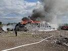 Požár na skládce plastů v Ostravě-Hrušově (4. května 2014)