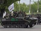 Transportéry ruských separatistů u Slavjansku (5. května 2014)
