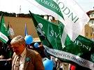 Svobodní na 1. máje uspořádali protievropský happening (1. května 2014)