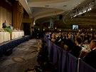 Barack Obama při svém vystoupení v rámci večeře se členy asociace korespondentů