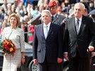 Prezidenti Česka a Německa Miloš Zeman a Joachim Gauck se svými manželkami na...