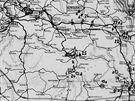 Výřez mapy ČSR zachycující umístění strategických objektů železniční...