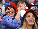 Fanoušci ruské sborné slaví výhru svého týmu na mistrovství světa.