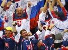 UŽ JE TAM! Slovenští fanoušci slaví gól.