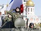 Na Rud�m n�m�st� zavl�la i krymsk� vlajka. (9. kv�tna 2014)