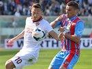 Francesco Totti z AS Řím drží míč, atakuje ho Gonzalo Bergessio z Catanie.