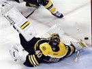 ROZVALENÝ. Bostonský gólman Tuukka Rask likviduje šanci Montrealu.