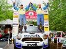 V�clav Pech a Petr Uhel se raduj� z triumfu v �eskokrumlovsk� rallye, druh�ho...