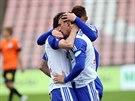 Znojemští fotbalisté slaví trefu do sítě Liberce, který porazili 4:1.