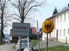 Pleš, začátek výletu. Z vesnice na hranici zůstala jen německá část.