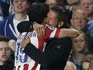 HODNÝ KLUK! Útočník Diego Costa z Atlétika Madrid běžel oslavit gól proti