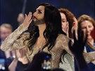 Conchita Wurst v hudební soutěži Eurovize (Kodaň , 8. května 2014)