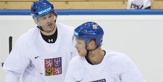 Vladimír Sobotka (vpravo) na tréninku s Jaromírem Jágrem.