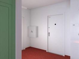 Dveře bytů jsou očíslovány, dvířka elektroskříně označeny piktogramy v
