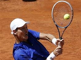Tomáš Berdych v duelu s Rafaelem Nadalem.