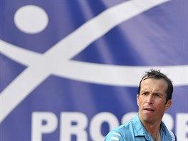 Radek Štěpánek na tenisovém challengeru v Ostravě.
