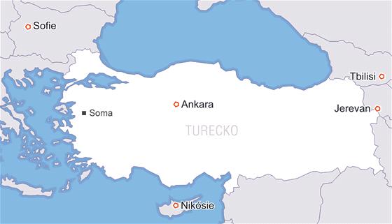 MAPA: Turecké město Soma, kde došlo k zavalení horníků