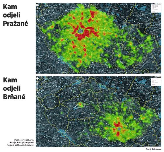 MAPA: Kam se na velikonoční víkend přesunují lidé z Prahy a Brna