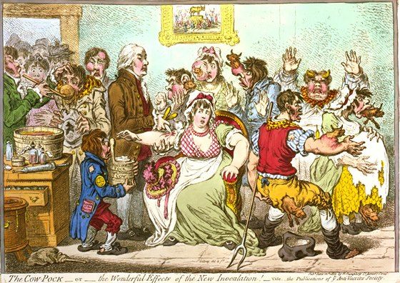 Britsk� karikatura z roku 1802, kdy se debatovalo o kladech i z�porech...