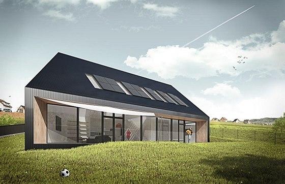 Kompaktní dům ve svahu na jižní stráni je navržen v pasivním standardu.