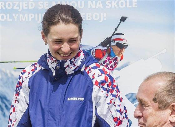 """Biatlonistka Veronika Vítková na akci """"Česko sportuje"""" v Kameničkách."""