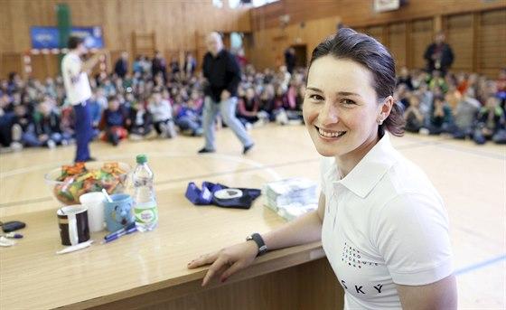 Biatlonistka Veronika Vítková  v Kutné Hoře odpovídala na otázky zvídavých...