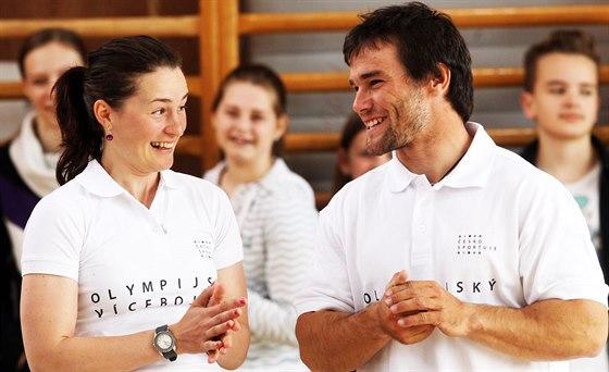 Biatlonistka Veronika Vítková a vodní slalomář Vavřinec Hradilek v Základní