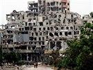 Rozstřílené vládní budovy v Homsu (8. května 2014)
