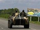 Ukrajinský transportér u Slavjansku (13. května 2014)