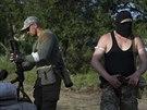 Ruští separatisté střeží okolí Slavjansku (15. května 2014)