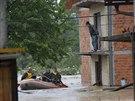 Záplavy v bosenské obci Zepce (16. května 2014)