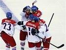 Čeští hokejisté slaví branku, kterou vstřelil obránce Ondřej Němec.